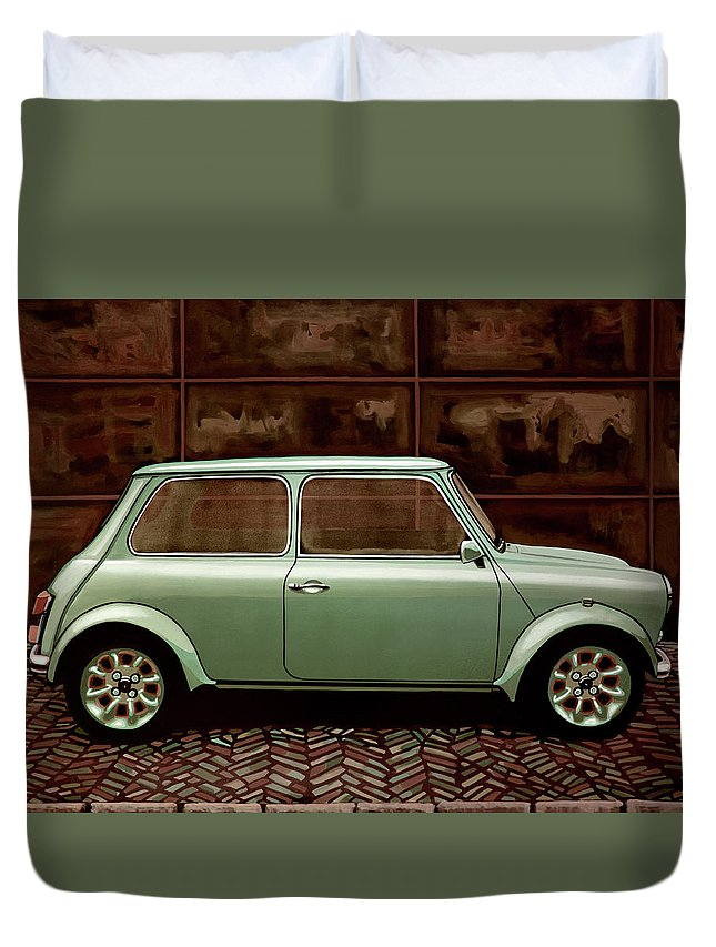 Mini Cooper Duvet Cover featuring the painting Austin Mini Cooper Mixed Media by Paul Meijering