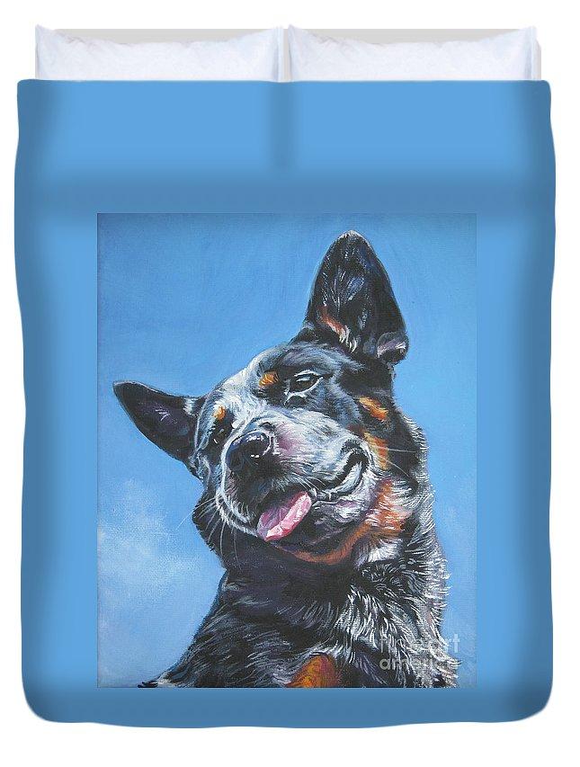 Australian Cattle Dog Duvet Cover featuring the painting Australian Cattle Dog 2 by Lee Ann Shepard