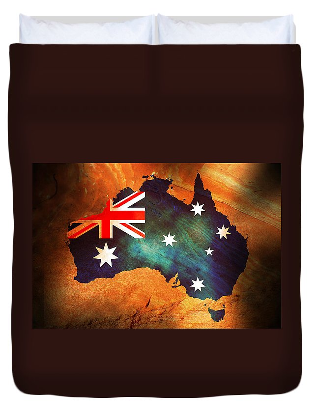 Australia Duvet Cover featuring the photograph Australian Flag On Rock by Phill Petrovic
