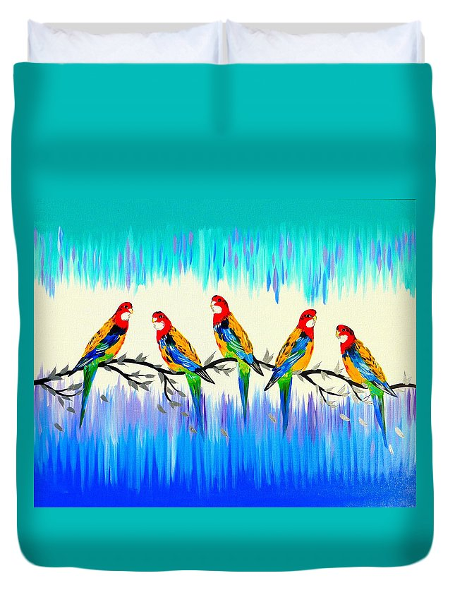 Parrots Duvet Cover featuring the painting Australian Joy by Cathy Jacobs