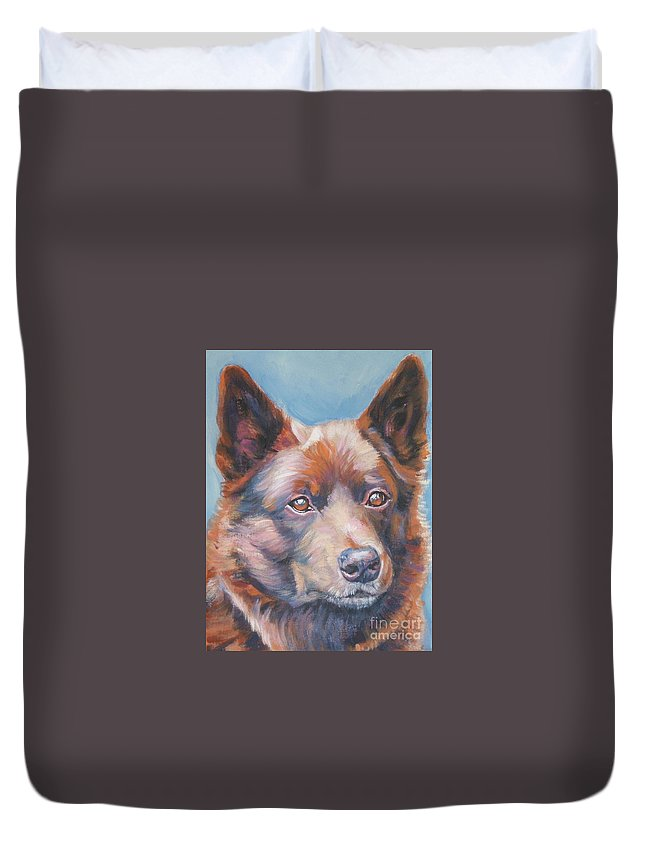 Dog Duvet Cover featuring the painting Australian Kelpie by Lee Ann Shepard