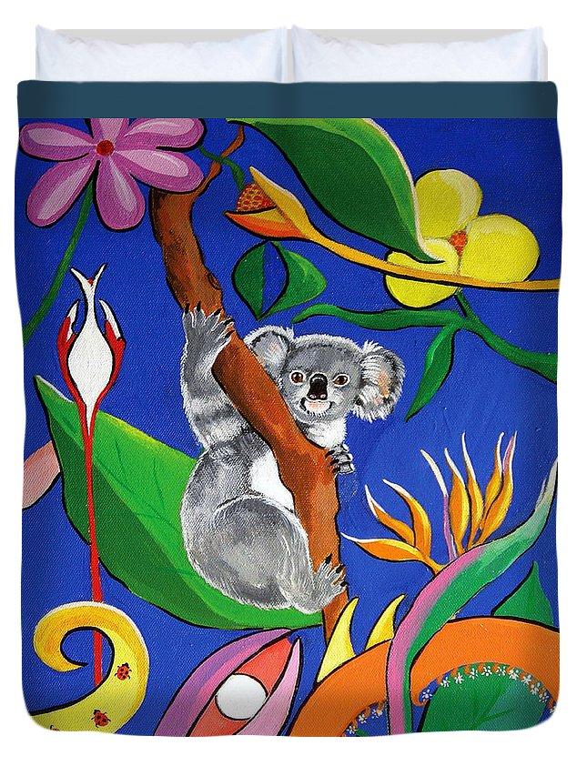 Australian Duvet Cover featuring the painting Australian Koala by Gloria Dietz-Kiebron