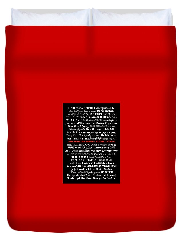 Red Duvet Cover featuring the digital art Australian Music Scene 1970's No 11 by LogCabinCottage