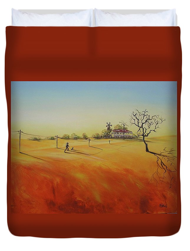 Landscape Duvet Cover featuring the painting Australian Outback Painting The Way Home by Chris Hobel