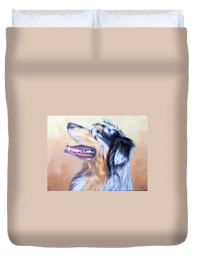 Dog Duvet Cover featuring the painting Australian Shepherd Dog by Nicole Zeug