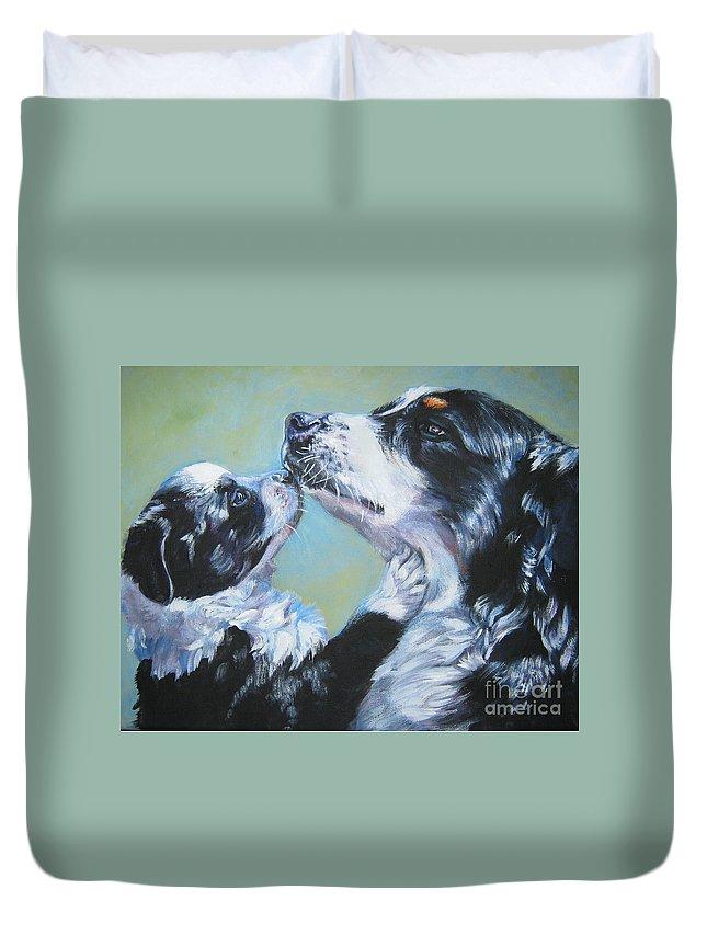 Australian Shepherd Duvet Cover featuring the painting Australian Shepherd Mom And Pup by Lee Ann Shepard