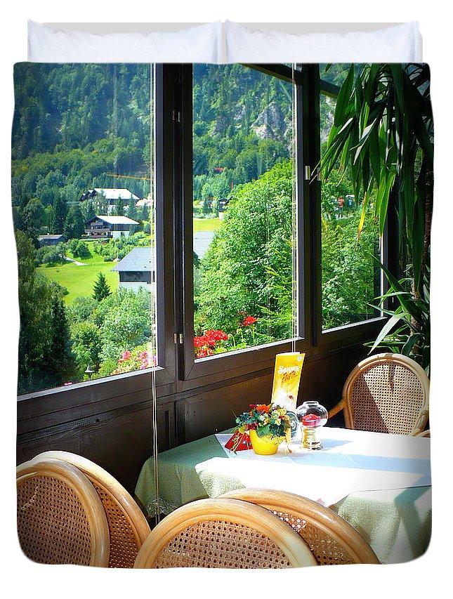 Austria Duvet Cover featuring the photograph Austrian Cafe by Carol Groenen
