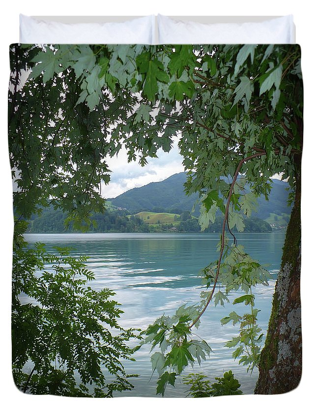 Austria Duvet Cover featuring the photograph Austrian Lake Through The Trees by Carol Groenen
