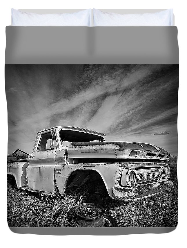 Duvet Cover featuring the photograph Auto Graveyard by Stephen Pier
