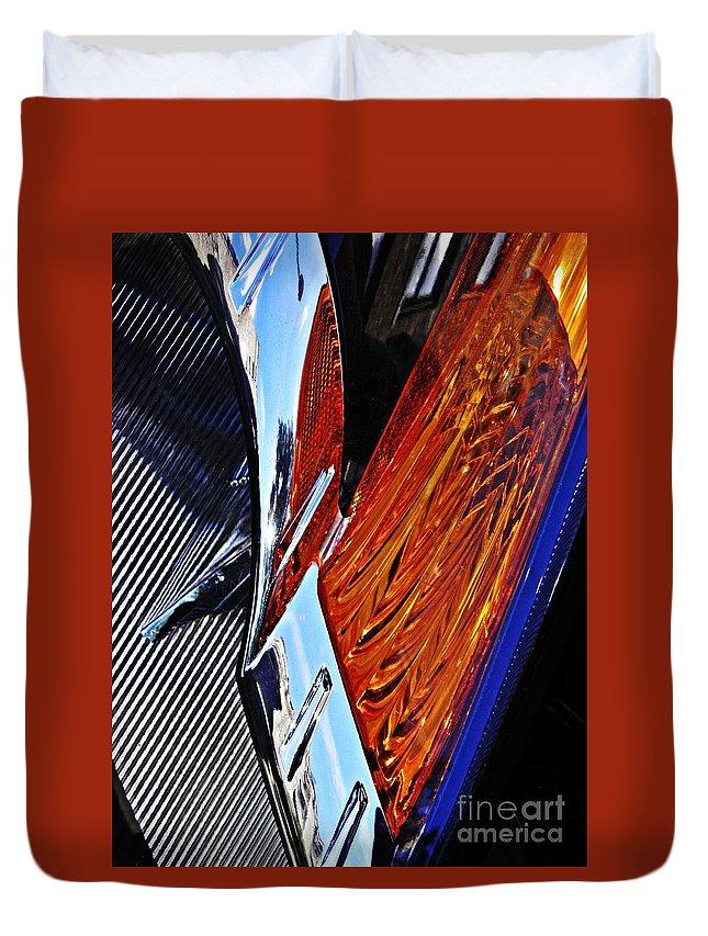 Headlight Duvet Cover featuring the photograph Auto Headlight 31 by Sarah Loft