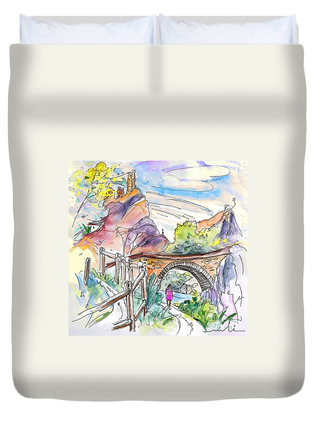 Arnedillo Duvet Cover featuring the painting Autol In La Rioja Spain 02 by Miki De Goodaboom