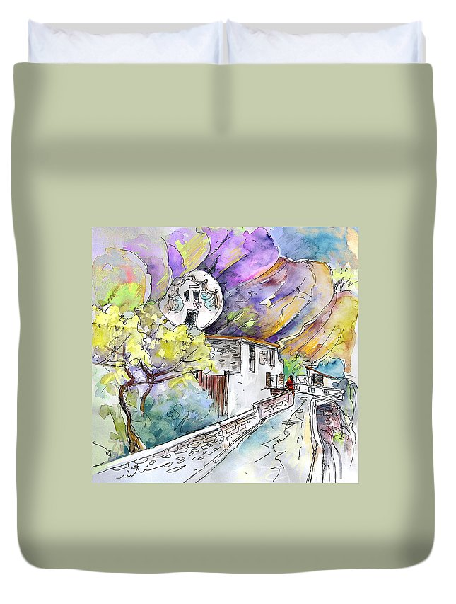 Arnedillo Duvet Cover featuring the painting Autol In La Rioja Spain 03 by Miki De Goodaboom