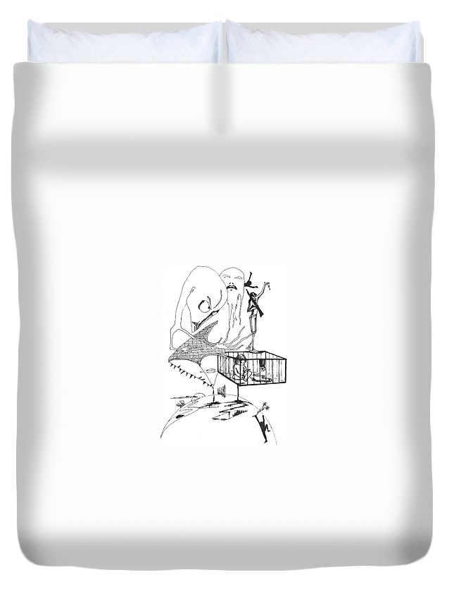 Drawing Pen Automatism Duvet Cover featuring the drawing Automatism by Veronica Jackson