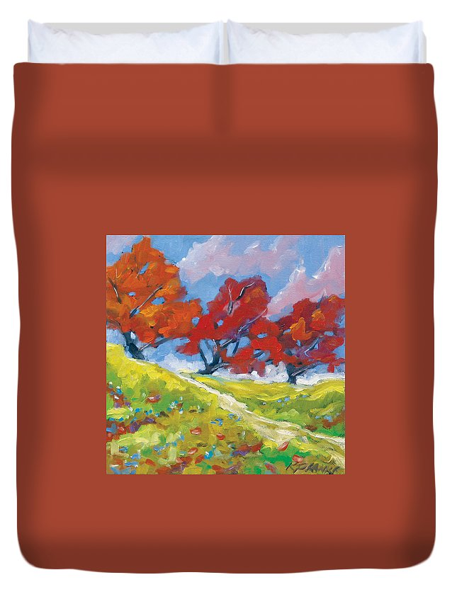 Art Duvet Cover featuring the painting Automn Trees by Richard T Pranke