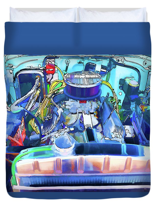 Automotive Engine Duvet Cover featuring the painting Automotive Engine by Jeelan Clark