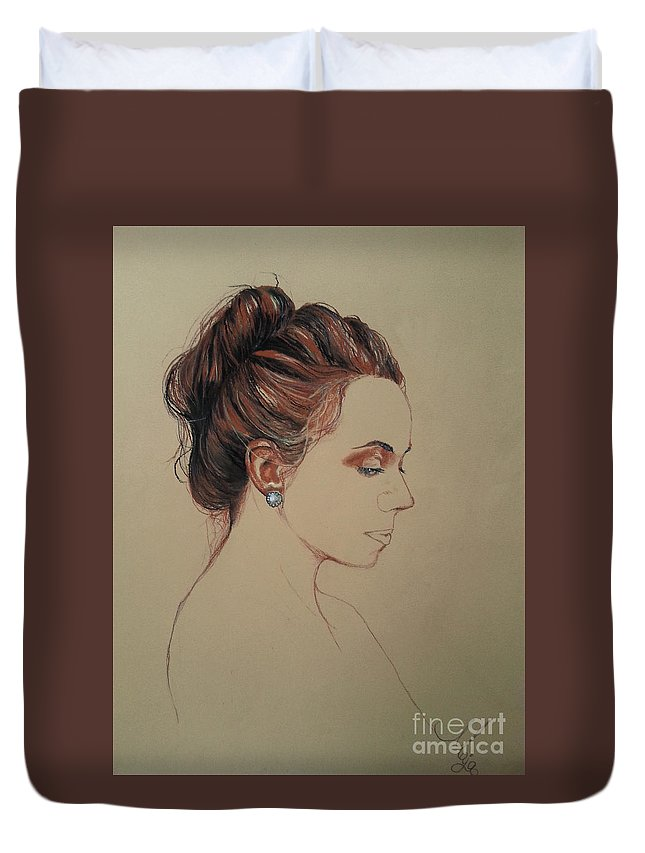 Portrait Duvet Cover featuring the drawing Autoportrait Maja Sokolowska by Maja Sokolowska