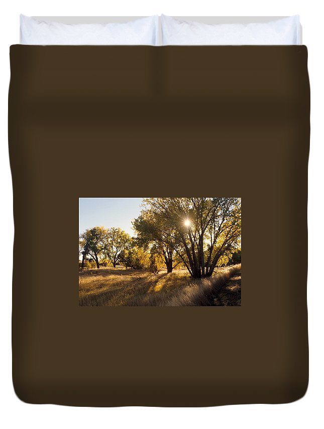 Fall Duvet Cover featuring the photograph Autum Sunburst by Jerry McElroy