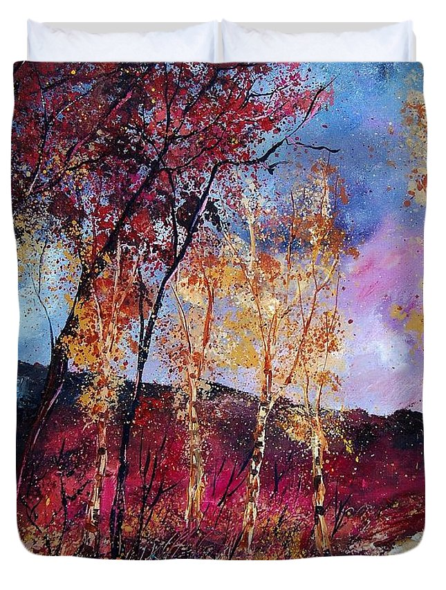 Landscape Duvet Cover featuring the painting Autumn 760808 by Pol Ledent
