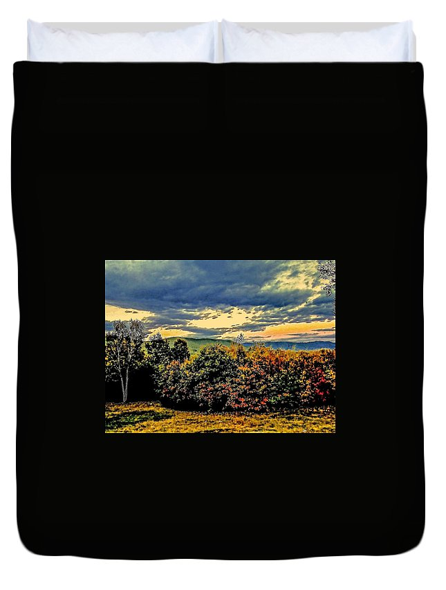 Turning Leaves Duvet Cover featuring the photograph Autumn Above Center Harbor by Elizabeth Tillar
