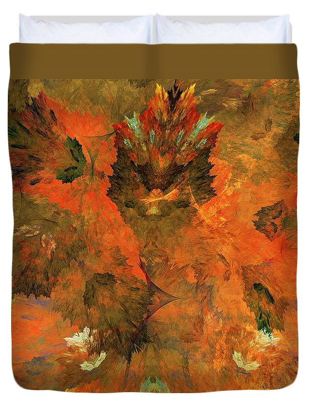 Fine Art Digital Art Duvet Cover featuring the digital art Autumn Abstract 103101 by David Lane