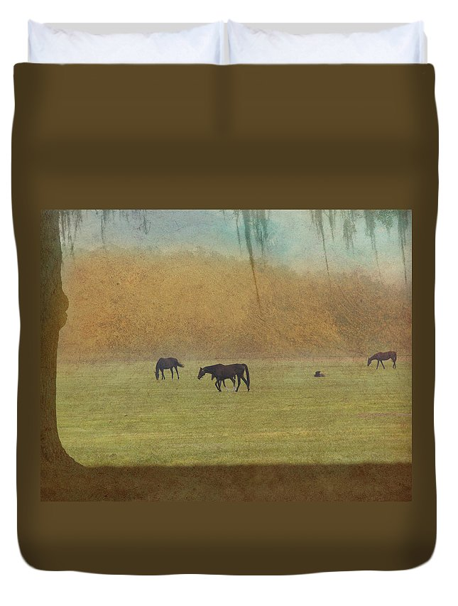 Outside Duvet Cover featuring the photograph Autumn Afternoon by Eleszabeth McNeel