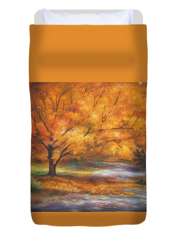 Fall Duvet Cover featuring the painting Autumn by Ann Cockerill