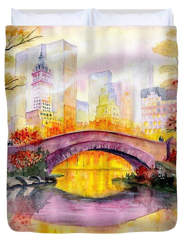 Autumn At Gapstow Bridge Central Park Duvet Cover featuring the painting Autumn at Gapstow Bridge Central Park by Melly Terpening