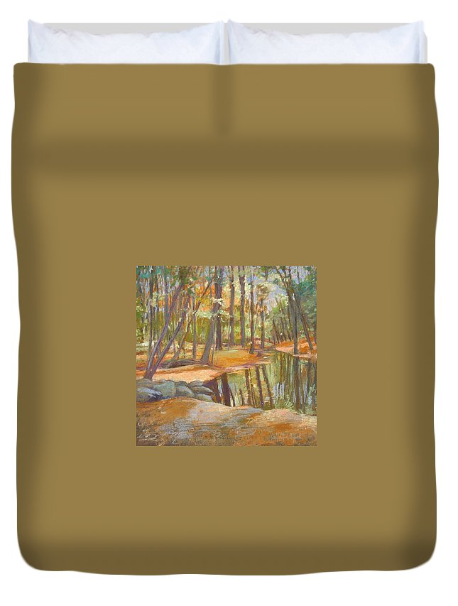 Mcgrath Duvet Cover featuring the painting autumn at Kenoza by Leslie Alfred McGrath