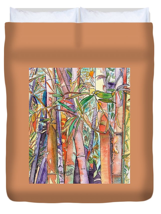 Bamboo Duvet Cover featuring the painting Autumn Bamboo by Marionette Taboniar