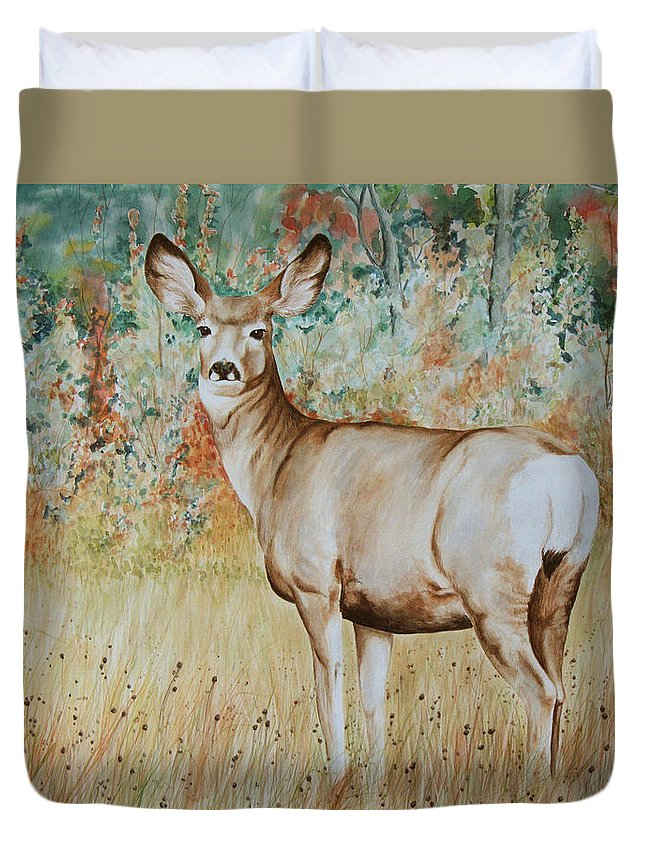 Wildlife Duvet Cover featuring the painting Autumn Beauty- Mule Deer Doe by Elaine Booth-Kallweit