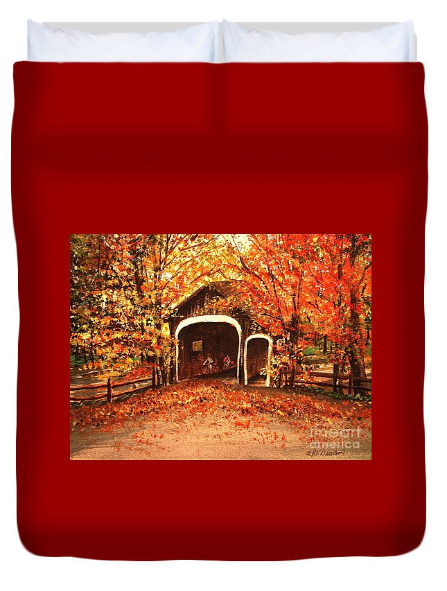 Autumn Duvet Cover featuring the painting Autumn Bike Ride by Patricia L Davidson