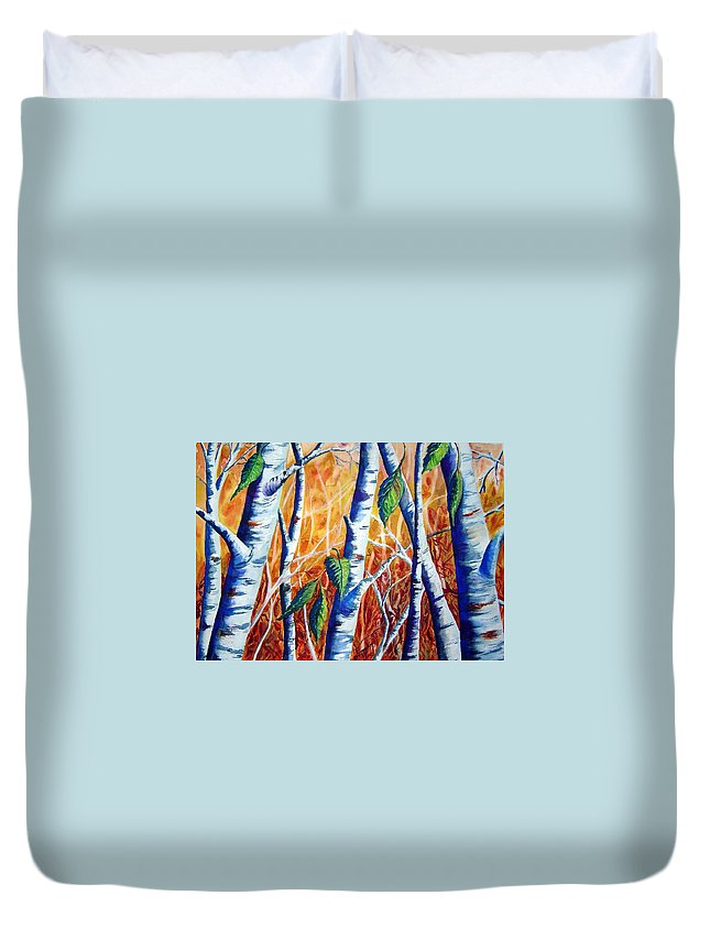 Autumn Birch Trees Duvet Cover featuring the painting Autumn Birch by Joanne Smoley