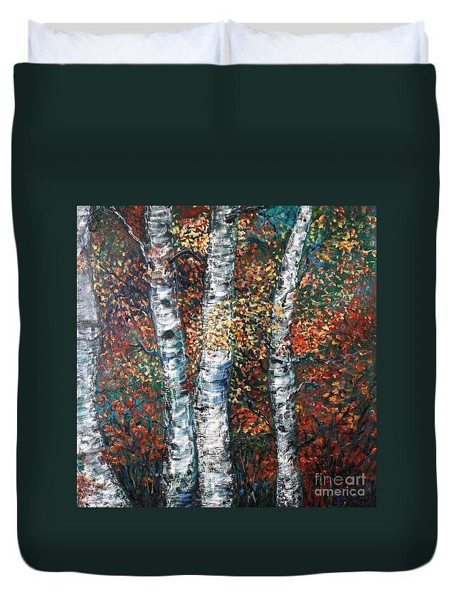 Birch Duvet Cover featuring the painting Autumn Birch by Nadine Rippelmeyer