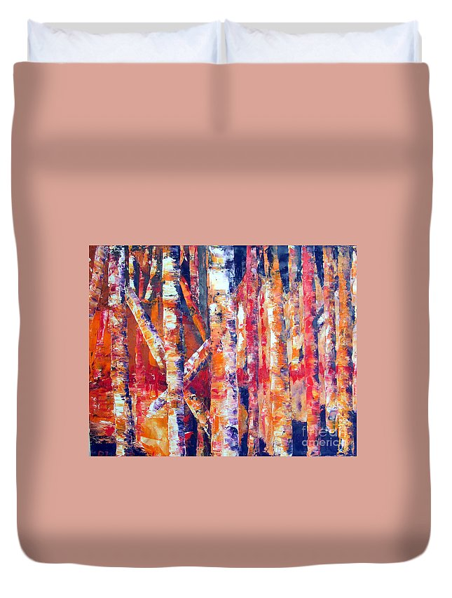Landscape Duvet Cover featuring the painting Autumn Birches by Lisa Boyd