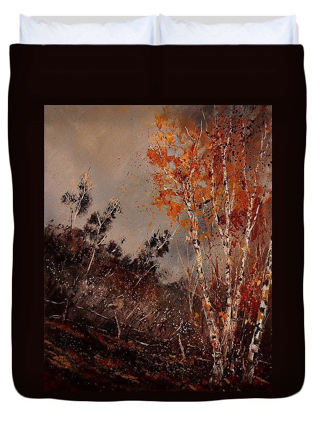 Tree Duvet Cover featuring the painting Autumn Birches by Pol Ledent