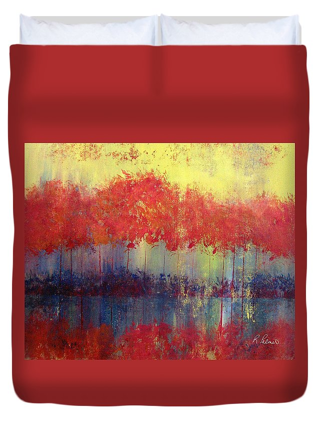 Abstract Duvet Cover featuring the painting Autumn Bleed by Ruth Palmer