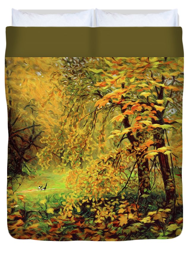 Autumn Bliss Of Color Duvet Cover featuring the mixed media Autumn Bliss Of Color by Georgiana Romanovna