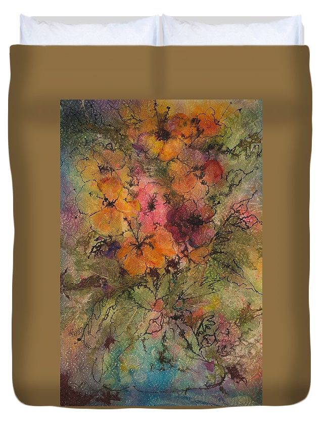 Floral Duvet Cover featuring the painting Autumn Blooms by Barbara Colangelo