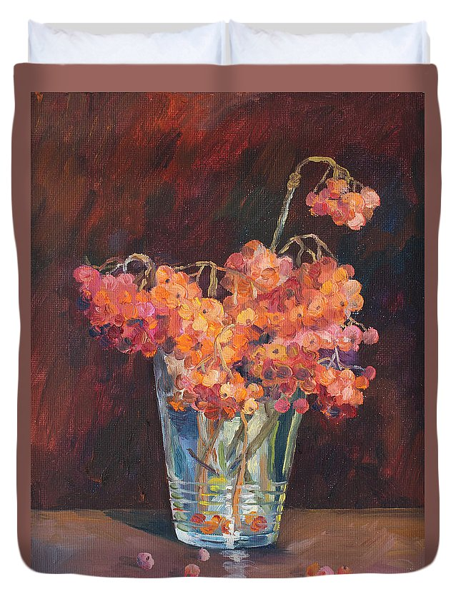 Ailna Malykhina Duvet Cover featuring the painting Autumn Bouquet Of Ashberries by Alina Malykhina