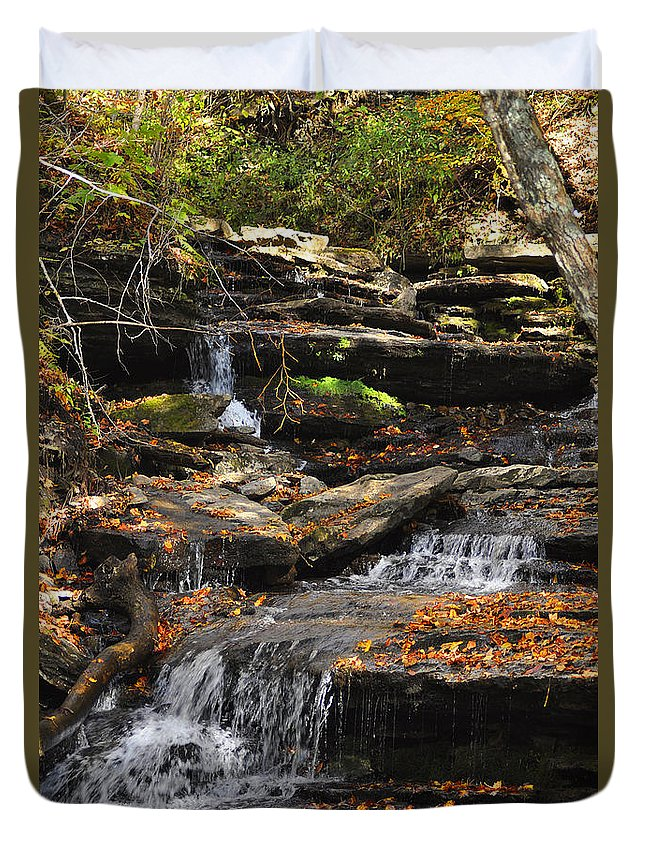 Diane Berry Duvet Cover featuring the photograph Autumn Brook by Diane E Berry