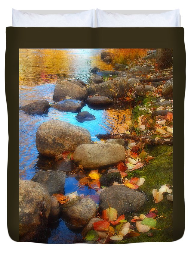 Autumn Duvet Cover featuring the photograph Autumn By The Creek by Tara Turner
