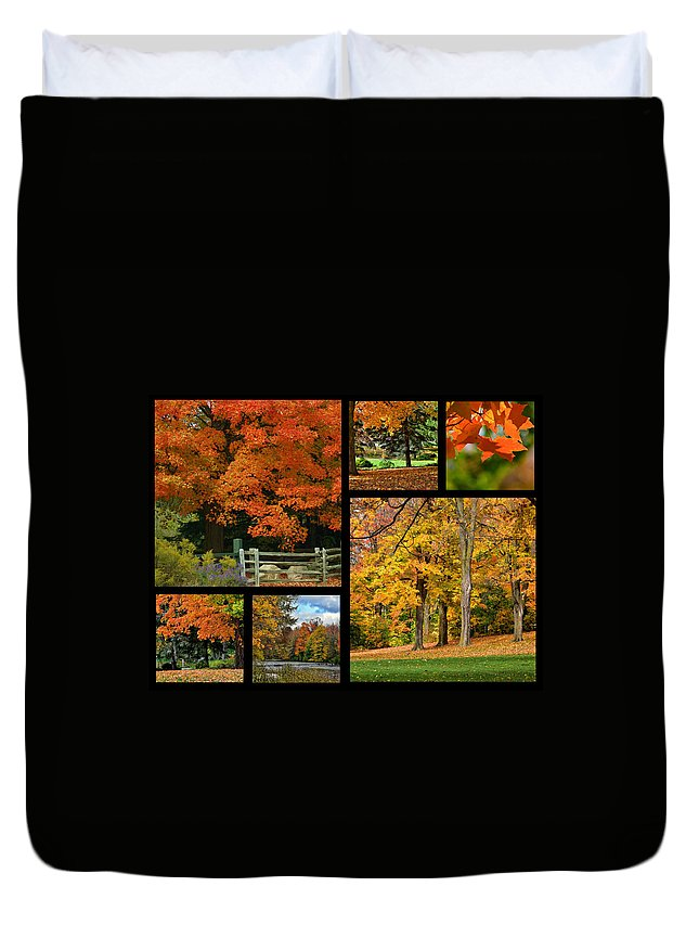 Autumn Duvet Cover featuring the photograph Autumn Collage by Maria Keady