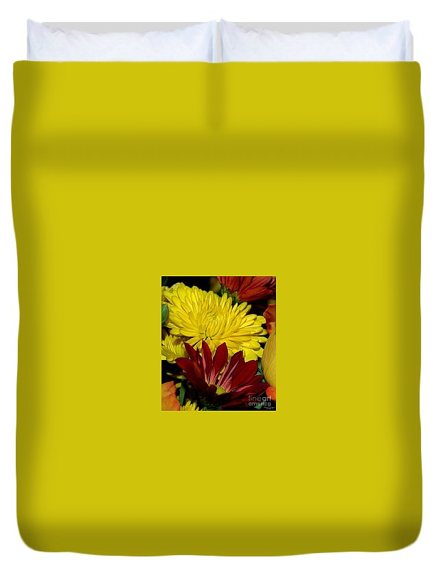 Chrysanthemum Photography Duvet Cover featuring the photograph Autumn Colors by Patricia Griffin Brett