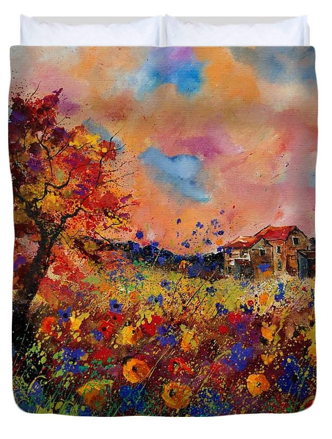 Poppies Duvet Cover featuring the painting Autumn Colors by Pol Ledent