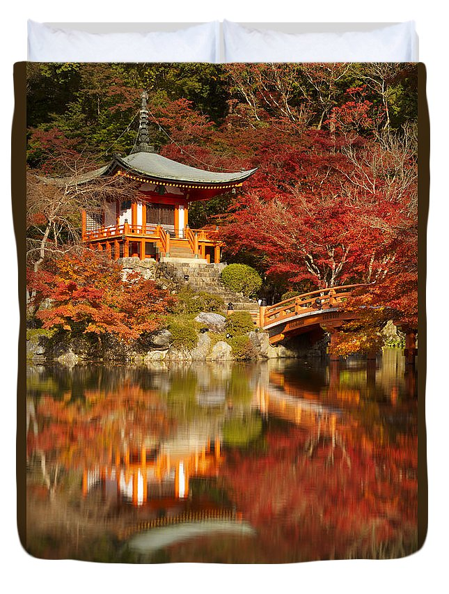 Temple Duvet Cover featuring the photograph Autumn Colours At Daigo-ji Temple In Kyoto In Japan by Sara Winter