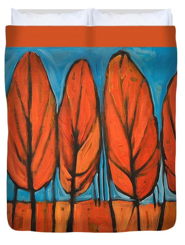 Fall Duvet Cover featuring the painting Autumn Dance by Tim Nyberg