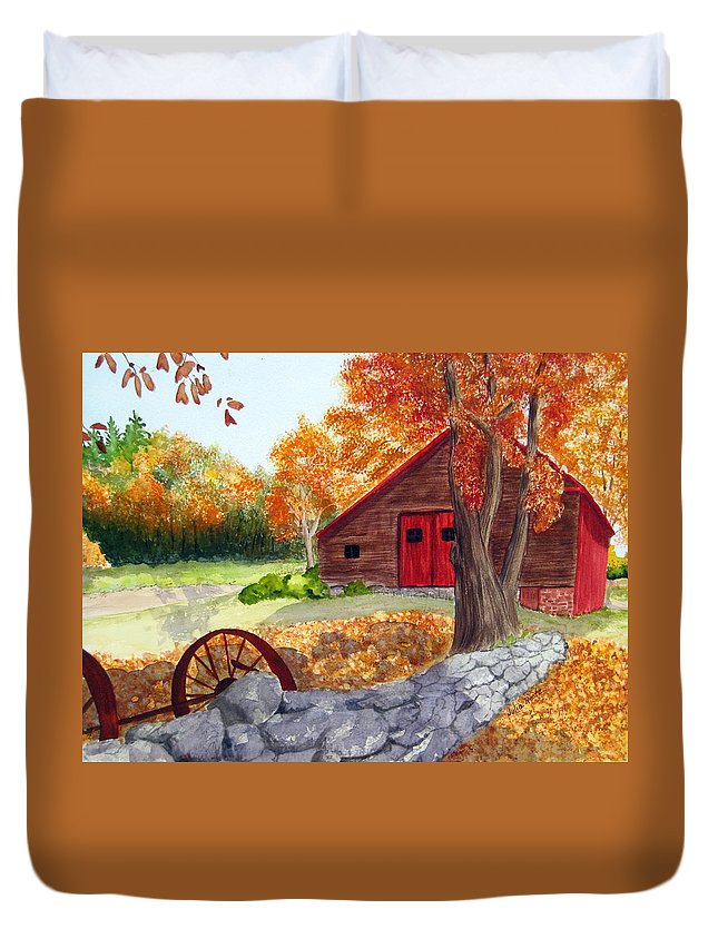 Barn Duvet Cover featuring the painting Autumn Day by Julia Rietz