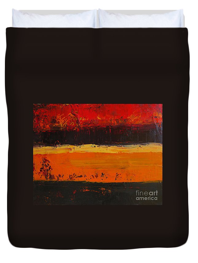 Abstract Painting Duvet Cover featuring the painting Autumn Day by Patricia Awapara