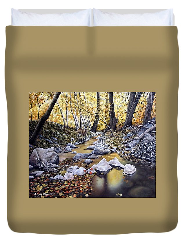 Deer Duvet Cover featuring the painting Autumn Deer by Anthony J Padgett