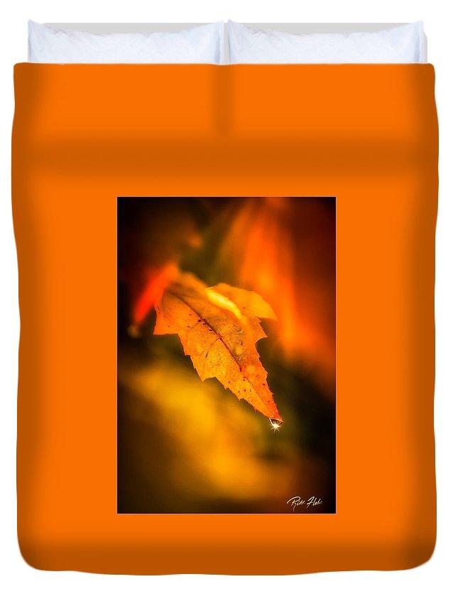 Autumn Duvet Cover featuring the photograph Autumn Drops by Rikk Flohr